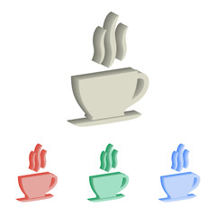 Coffee cup 3d isometric vector icons.