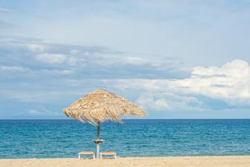 Sea wallpaper - bamboo umbrella, blue ocean, wind, summer