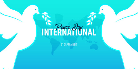 International Peace Day banner. 21 September. Dove with olive branch.