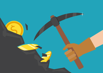 The hand of a businessman dips a rock, searching for a treasure. The concept of money, earnings, success. Vector illustration