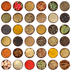 In de dag Kruiden Set of different spices in wooden bowl. Top view.