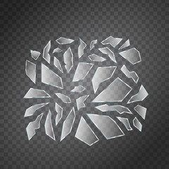 Vector set of realistic isolated broken glass shards for decoration and covering on the transparent background.