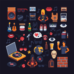set of music theme accessories pixel art sprites, vector isons.