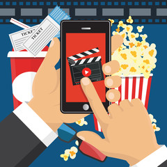 On line order of cinema tickets. Smartphone application. Vector illustration.