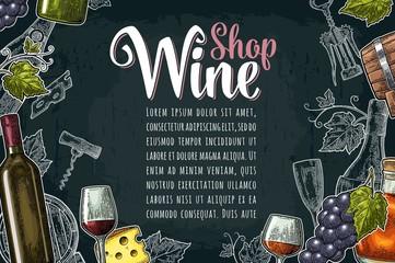 Horizontal label or poster. Wine Shop lettering. Vector vintage engraving