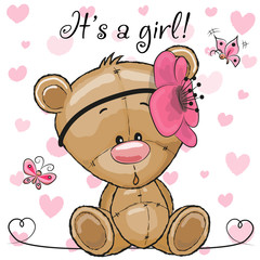 Baby Shower Greeting Card with Teddy Bear girl