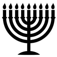 Menorah Silhouette. Menorah for Hanukkah, Vector illustration. Religion icon