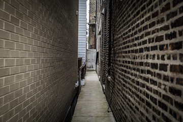 Looking down an alleyway