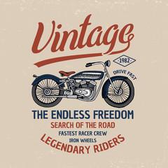 motorcycle or motorbike illustration. logo emblem or label, engraved hand drawn in old sketch and vintage transport. Print on T-shirts.