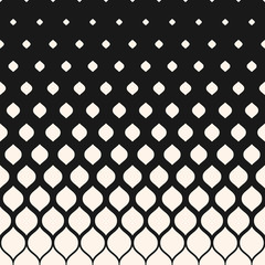 Vector halftone pattern, monochrome geometric texture, vertical falling rounded shapes