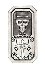 Art skull in coffin day of the dead.