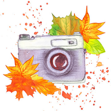 watercolor vintage camera decorated with autumn leaves and splashes