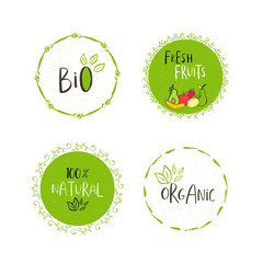 Vector eco, bio green logo or sign. Vegan, raw, healthy food bad