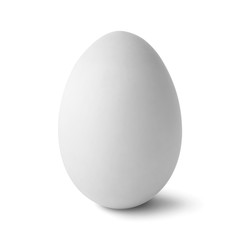 Single  white egg isolated on white with clipping path