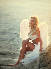The beautiful girl with wings