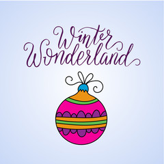 Vector card with Christmas decoration and handdrawn brush lettering.  Winter llustration for modern designs.