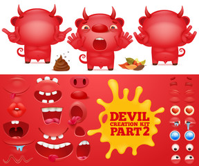 Cartoon emoticon red devil character creation kit.