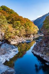 Perficet autumn season of Ryuokyo Canyon, Kinugawa Onsen Japan