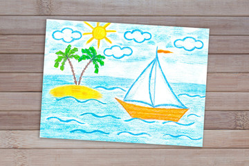 """Pencils drawing """"Sailing boat and palms island in the sea"""" on wooden panels background"""