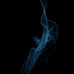 Abstract vector digital blue smoke on black background with copyspace