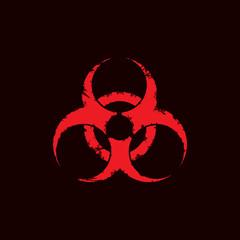 Grunge biohazard symbol isolated on white background. Vector illustration.