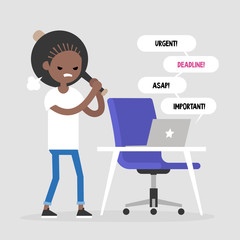 Mad office worker conceptual illustration. Young black female character hitting a laptop with a baseball bat. Flat editable vector illustration, clip art