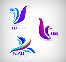 Vector set of bird, fly, wings logos. Abstract icons.
