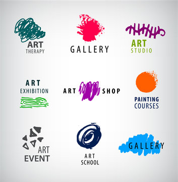 Vector set of art logos. Gallery, art school, exhibition or painting courses