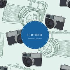 vintage rangefinder film camera, seamless pattern sketch vector.