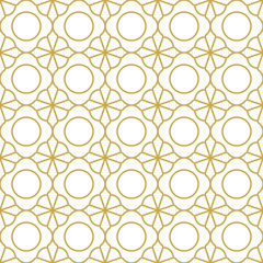 Stylish oriental background in gold. Seamless vector pattern