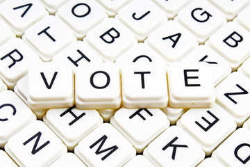 Vote text alphabet word by letters. Letter blocks crossword