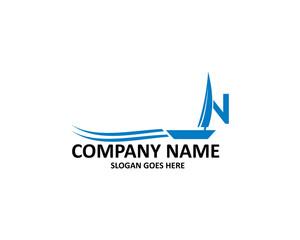 n letter sailboat logo