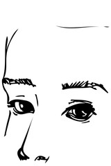 sketch of the eyes to the portrait of a handsome man