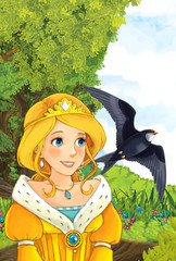 Cartoon fairy tale scene with a young little girl on the meadow looking at flying cuckoo bird - illustration for children
