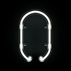 Neon Light Alphabet O. 3D illustration