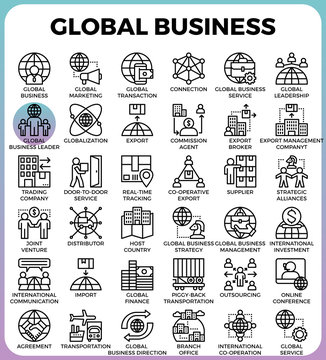 Global business concept icons
