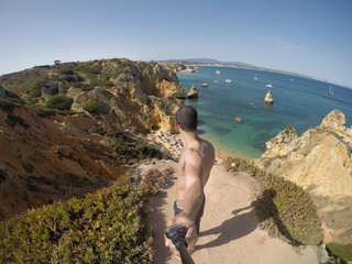Guy Taking a Selfie in Algarve Beach, Portugal