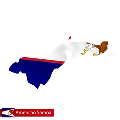 American Samoa map with waving flag of country.