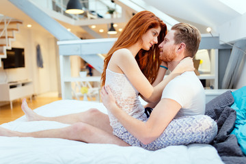 Couple in love enjoying foreplay
