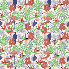 Tropical plants and flowers with toucan, parrot, flamingo birds exotic seamless decorative background