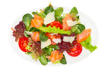 Salad from fresh vegetables with salmon