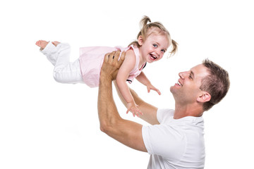 portrait of father holding his adorable child on white background
