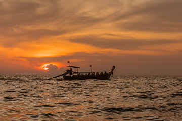 Traditional thai boat sunset beach Ao Nang Krabi