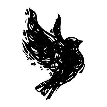 Hand drawn linocut style bird illustration