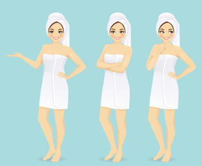 Woman in towel in different poses vector isolated set