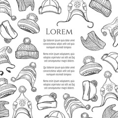 Hand drawn winter knitting hat poster, vector illustration