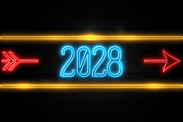 2028 - fluorescent Neon Sign on brickwall Front view
