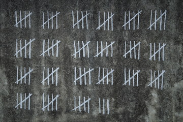 counting days in prison -  handwritten lines of white chalk