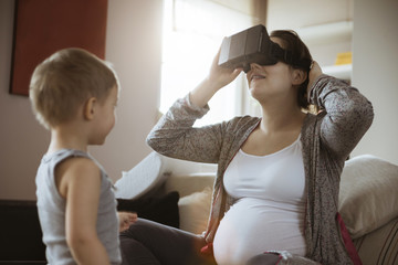Pregnant Woman Using VR