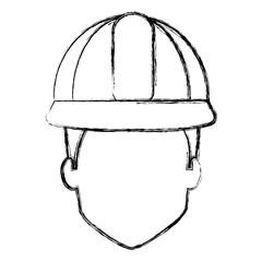 repairman builder head avatar character vector illustration design